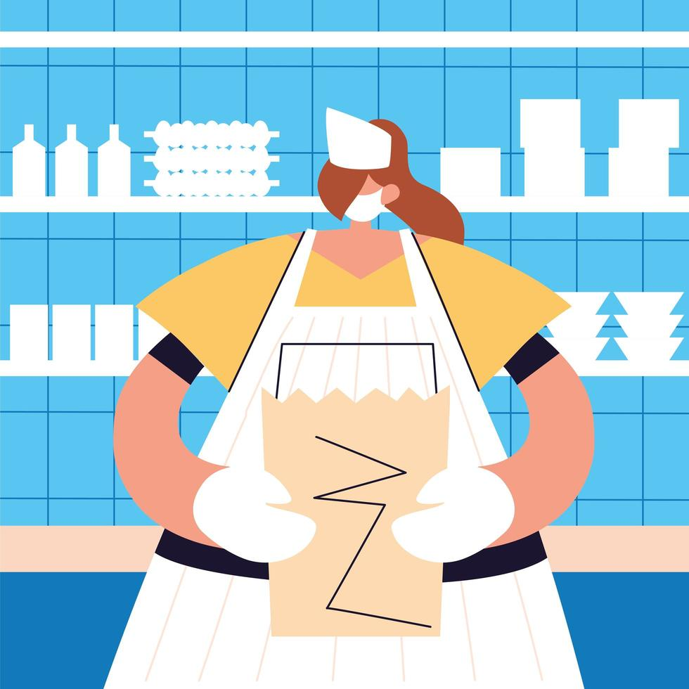 Woman waitress with face mask vector