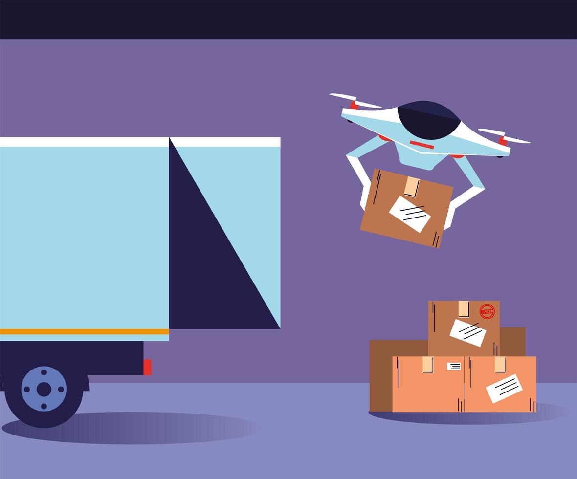 Drone carries boxes from the delivery truck vector