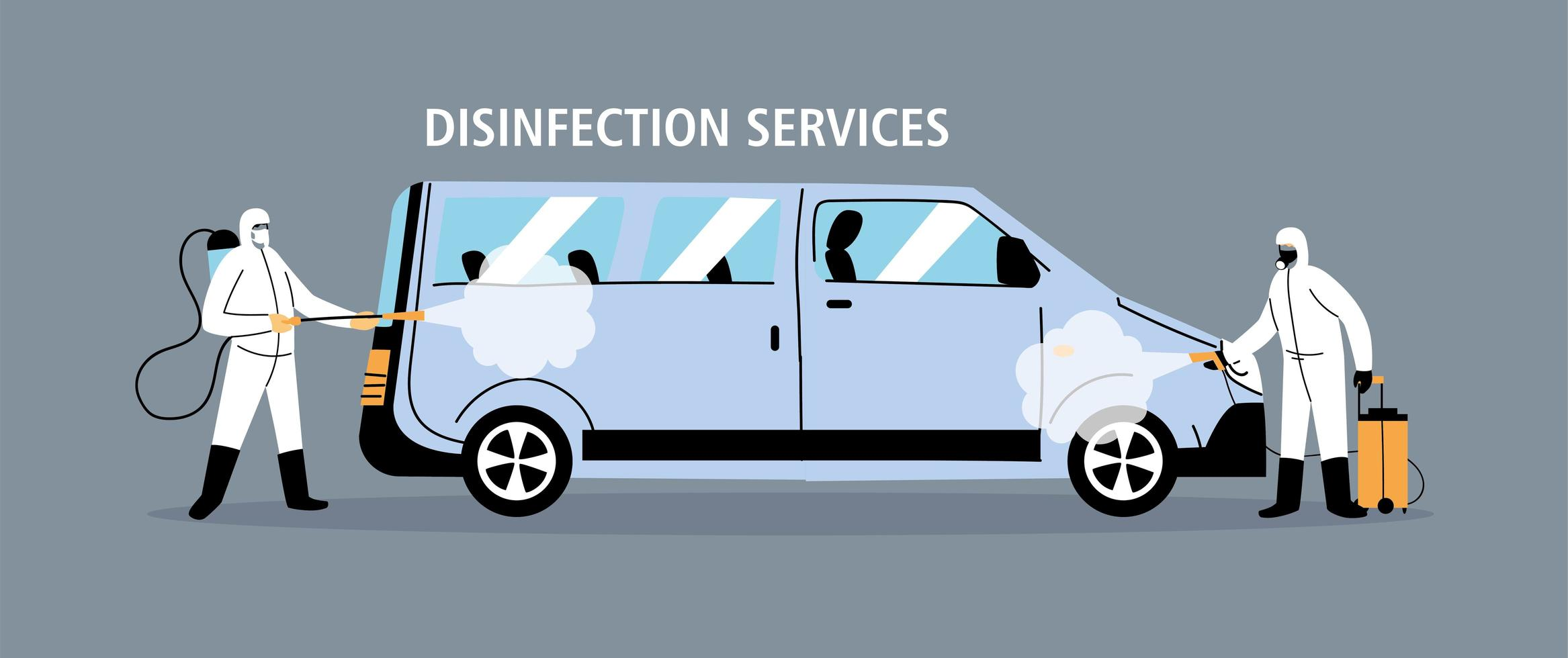 Service van disinfection by coronavirus or covid 19 vector