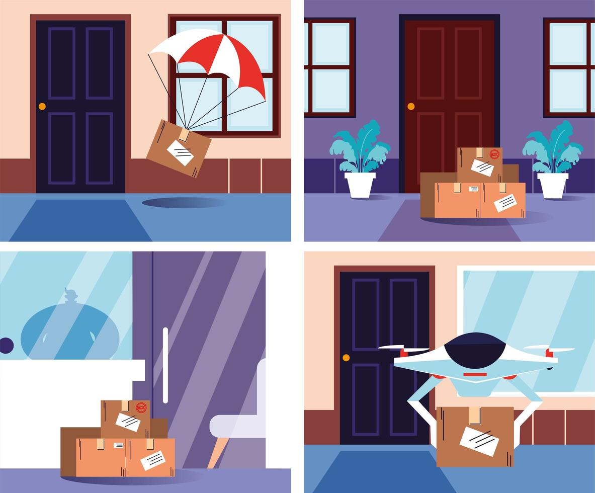 Contactless deliveries at the door house vector
