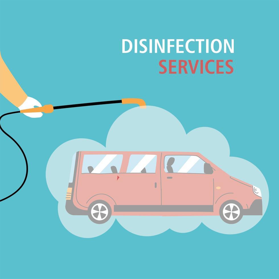 Service van disinfection by coronavirus or covid 19 vector