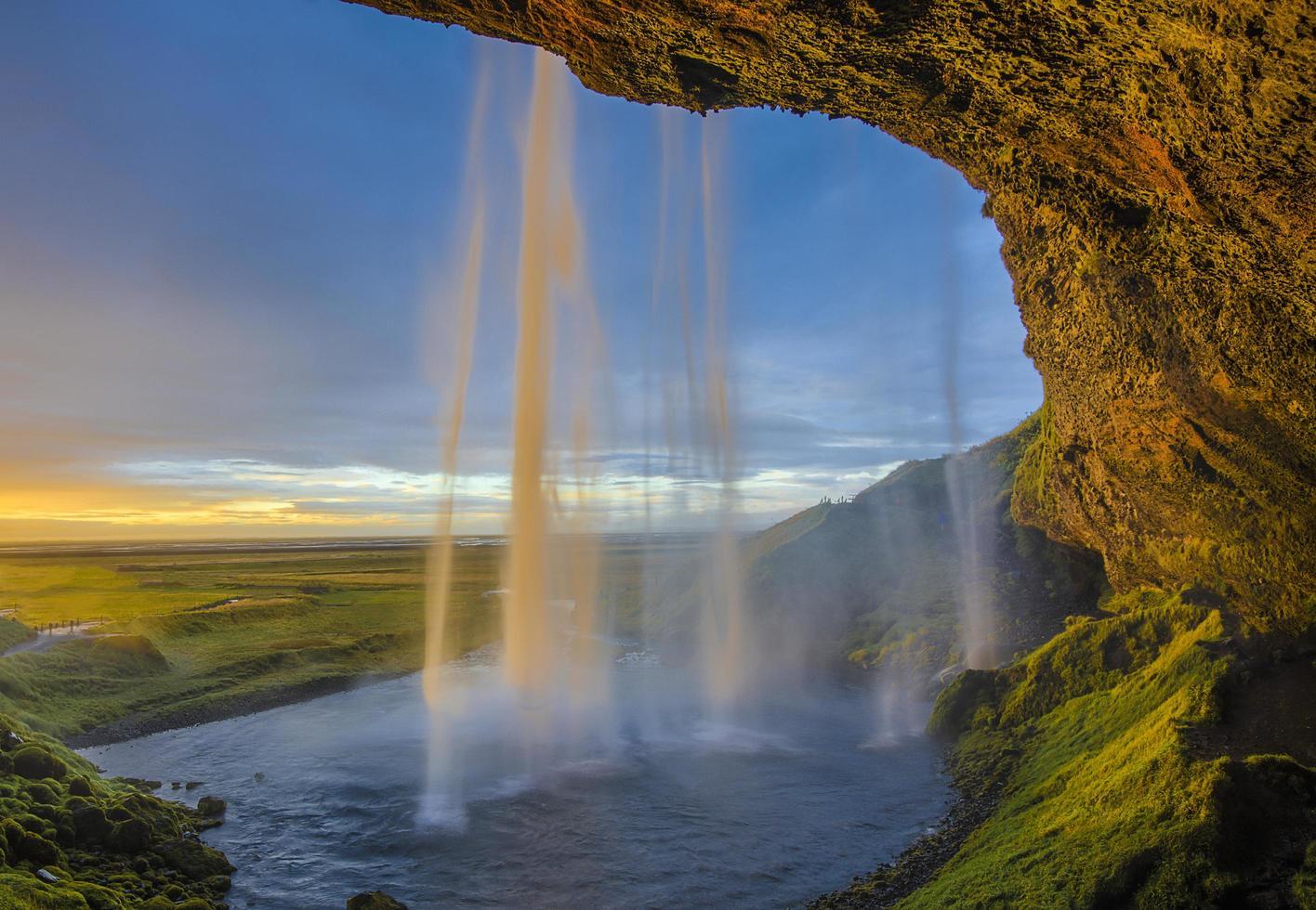 Waterfall at sunset photo