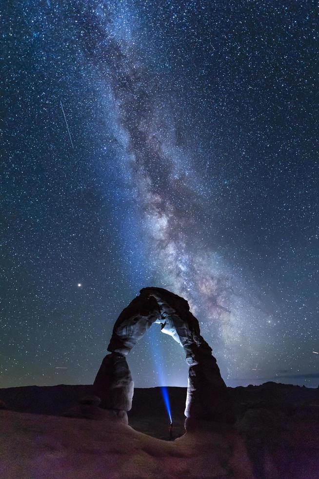 Natural arch and the Milky Way during night time photo