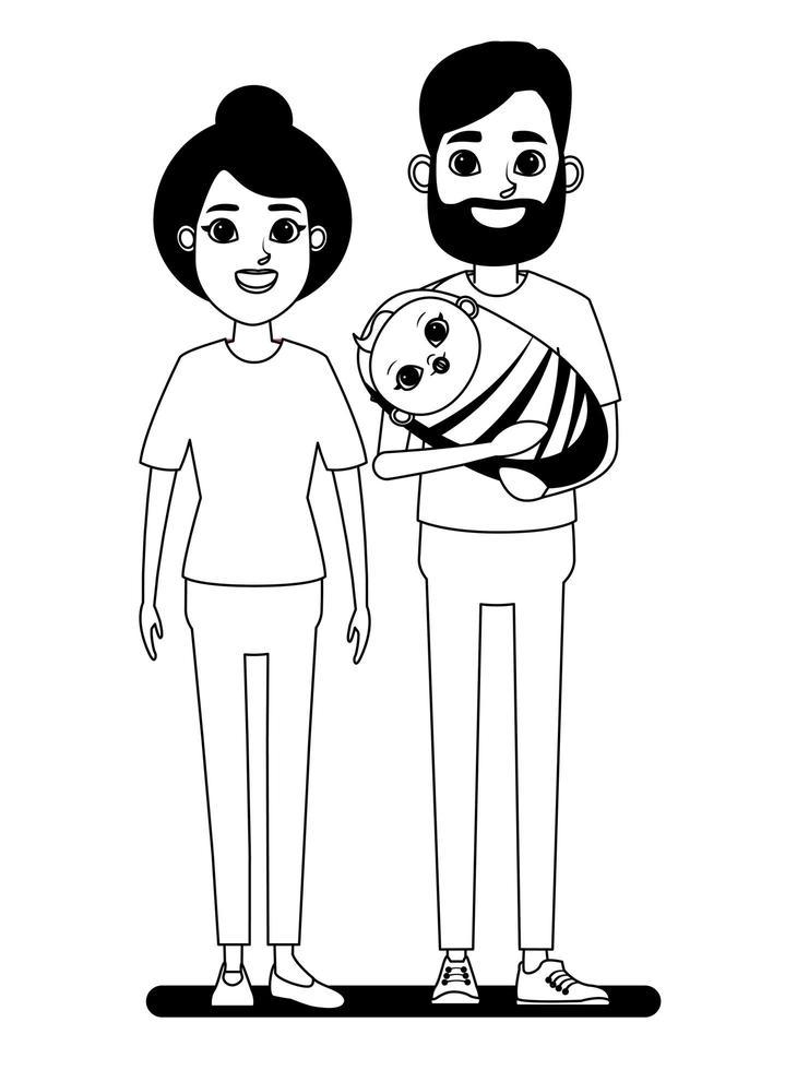 Cartoon couple with baby line-art vector