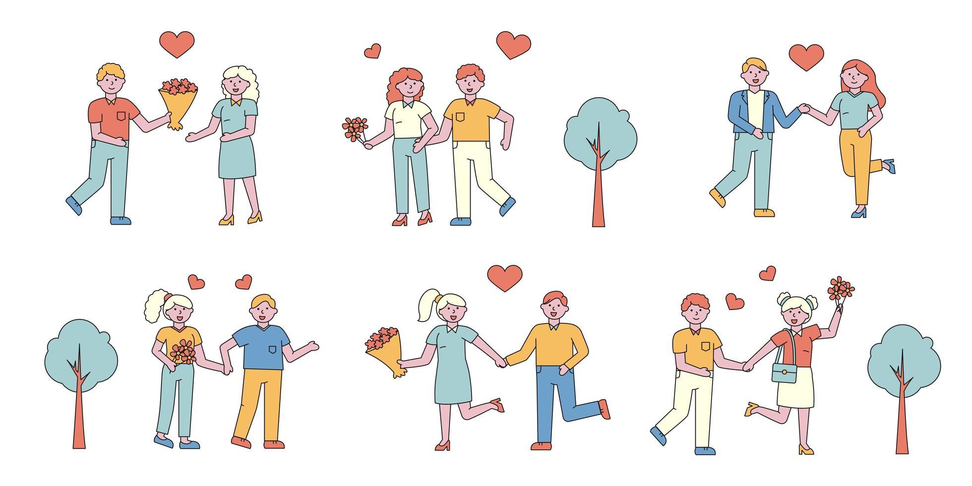 conjunto de diseño plano de parejas románticas vector