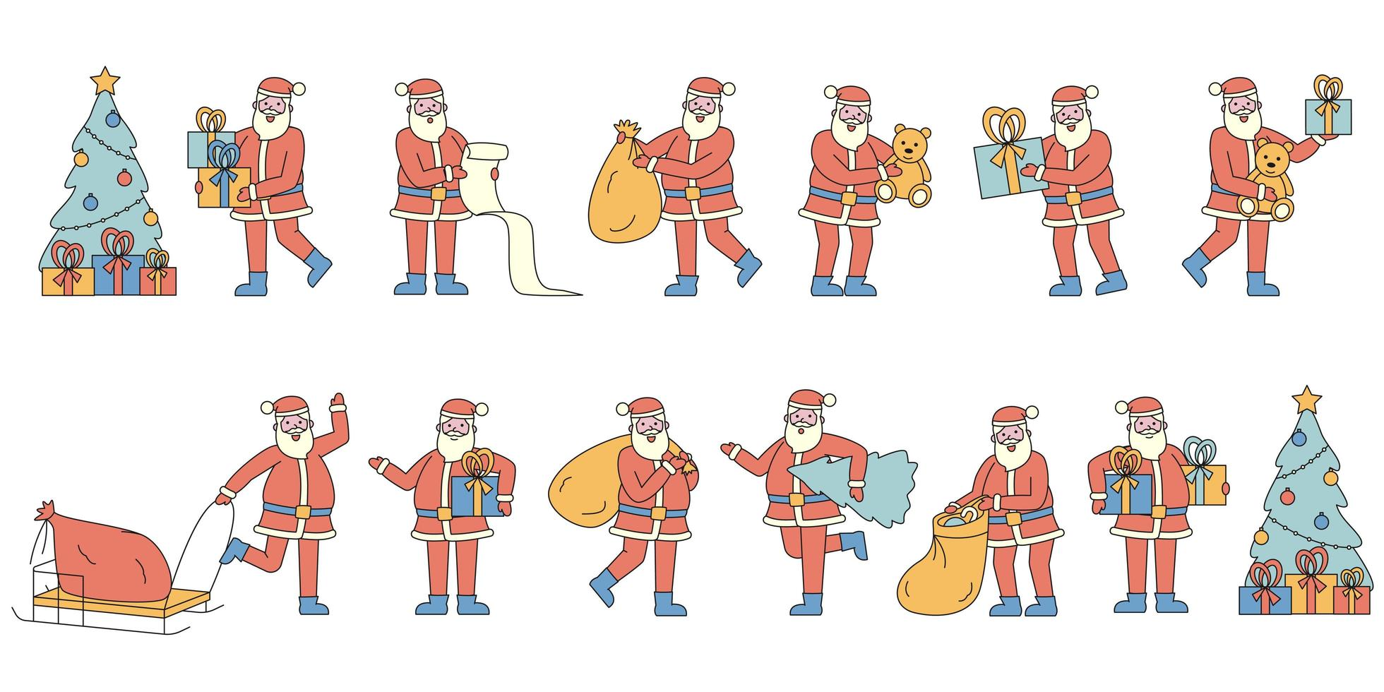 Santa Claus with gifts flat-design set vector