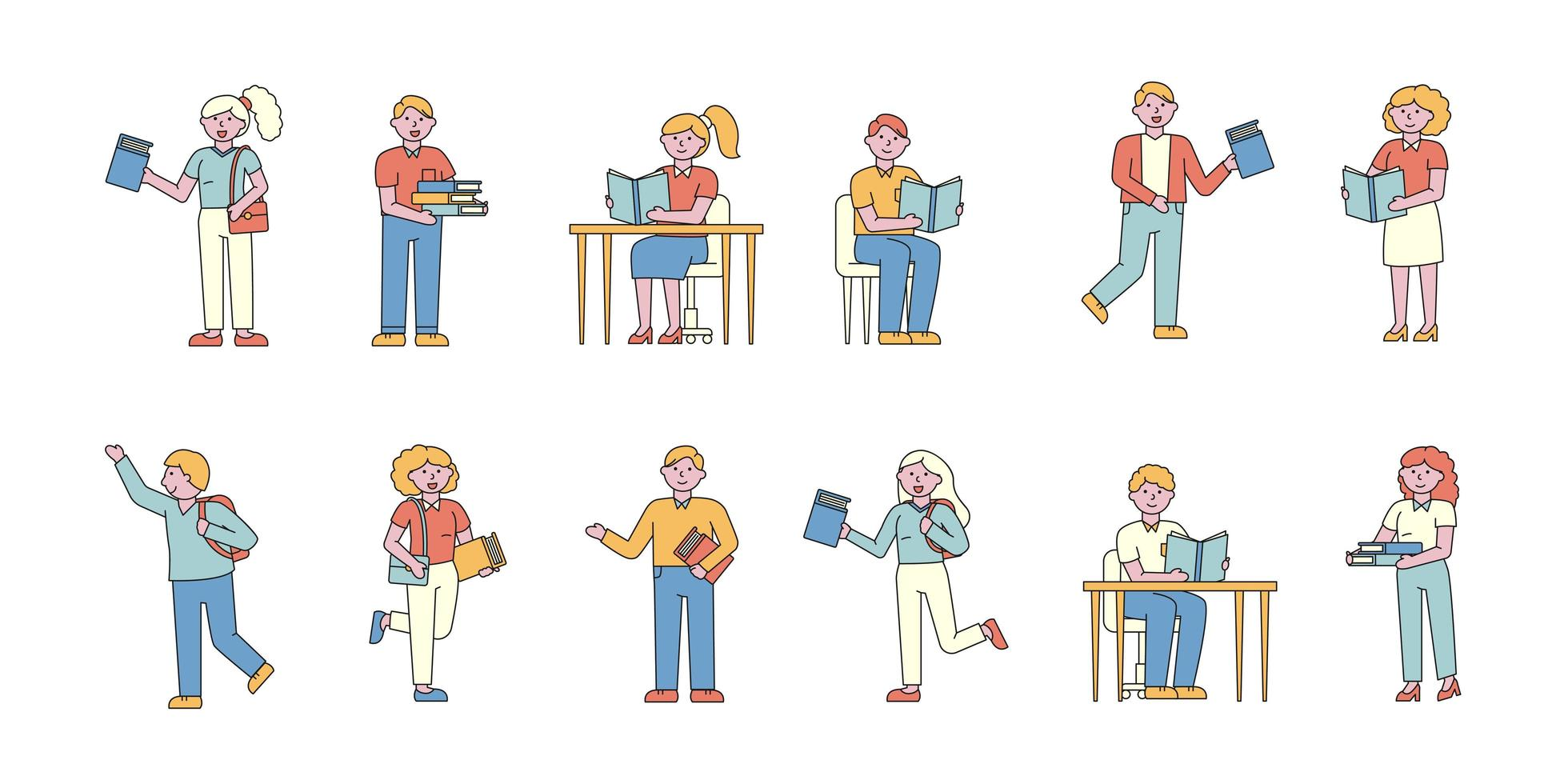People studying and reading flat-design set vector