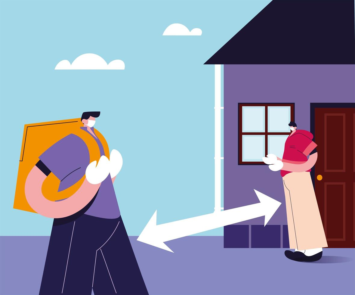 Courier service leaves the package at safe distance vector