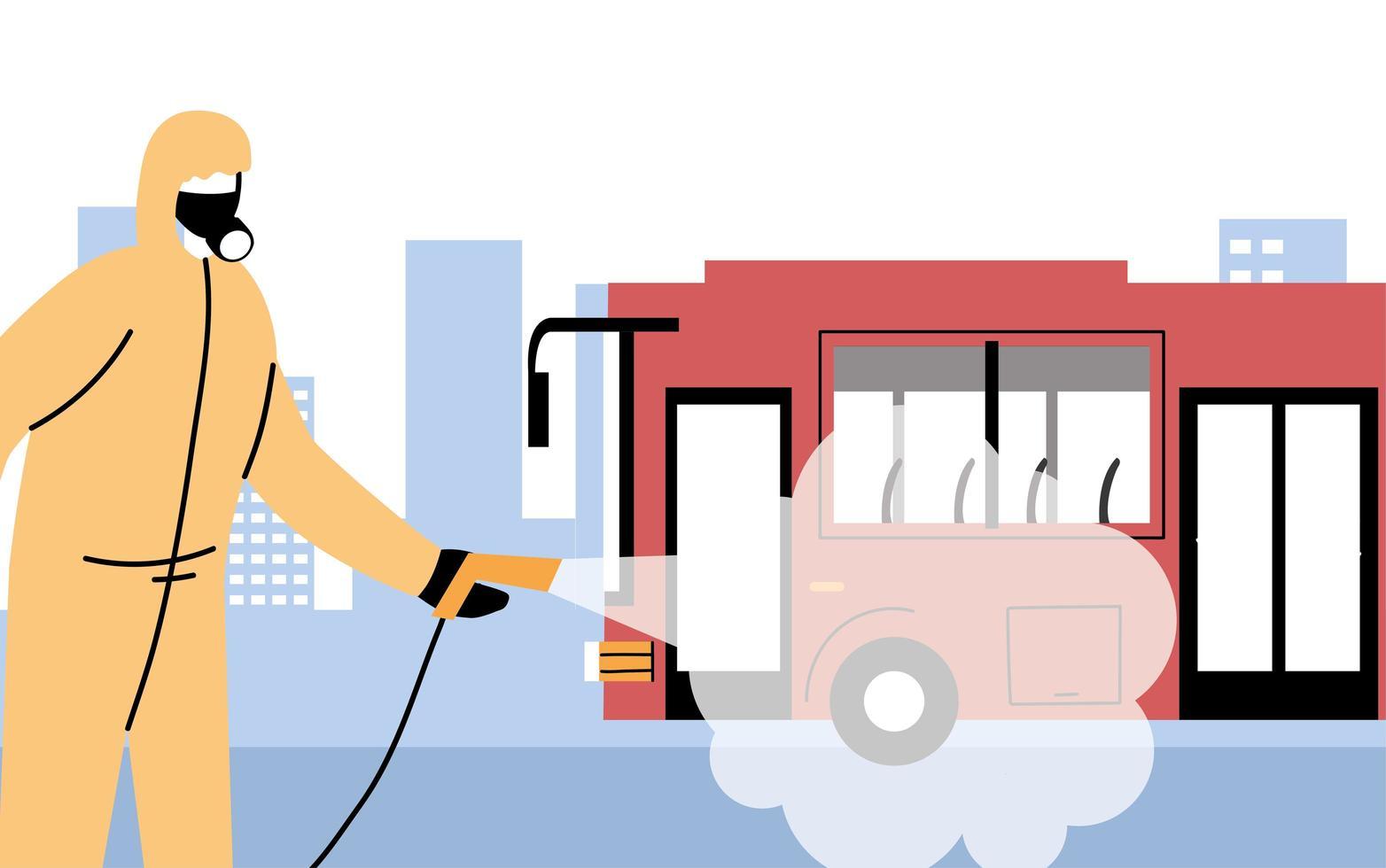 Hombre vestido con traje de protección desinfecta el autobús vector