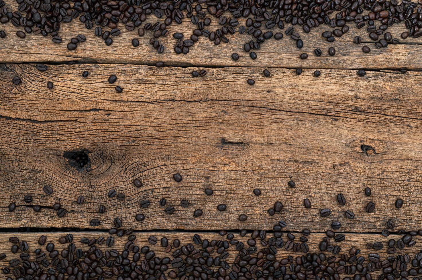 Coffee beans on the desk, top view photo