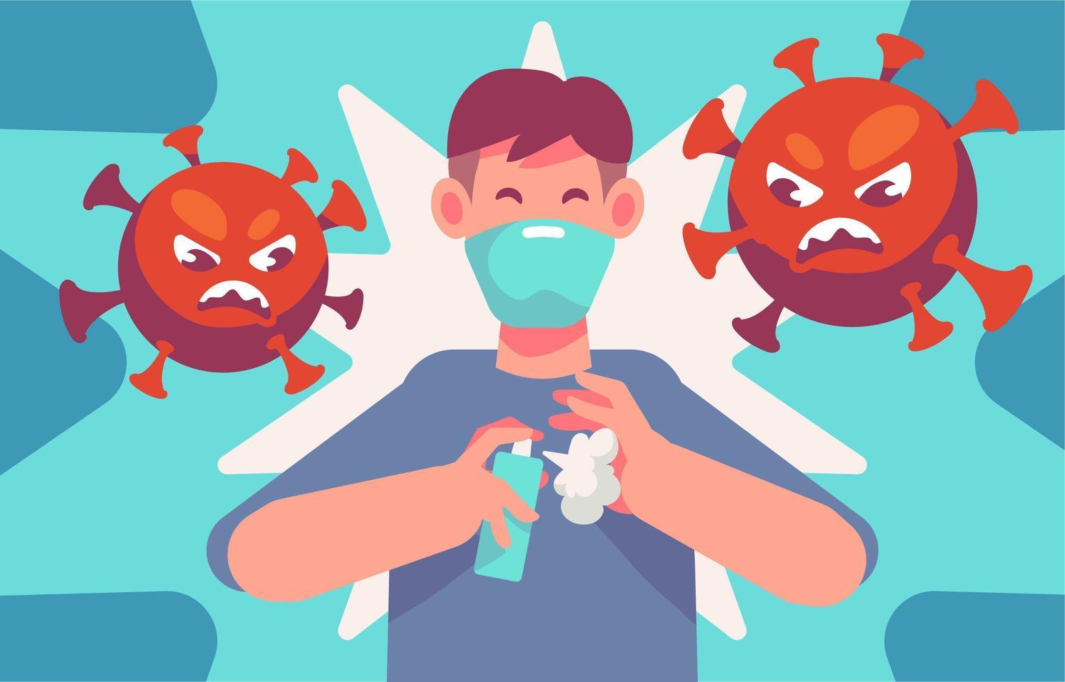 conciencia de covid 19 para usar desinfectante de manos vector