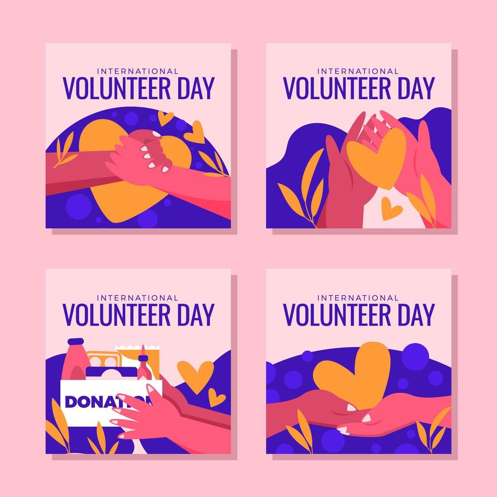 Help People in Need During Volunteer Day vector