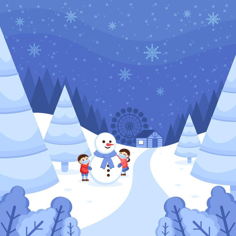 Winter Wonderland Landscape with Children Playing Snow vector