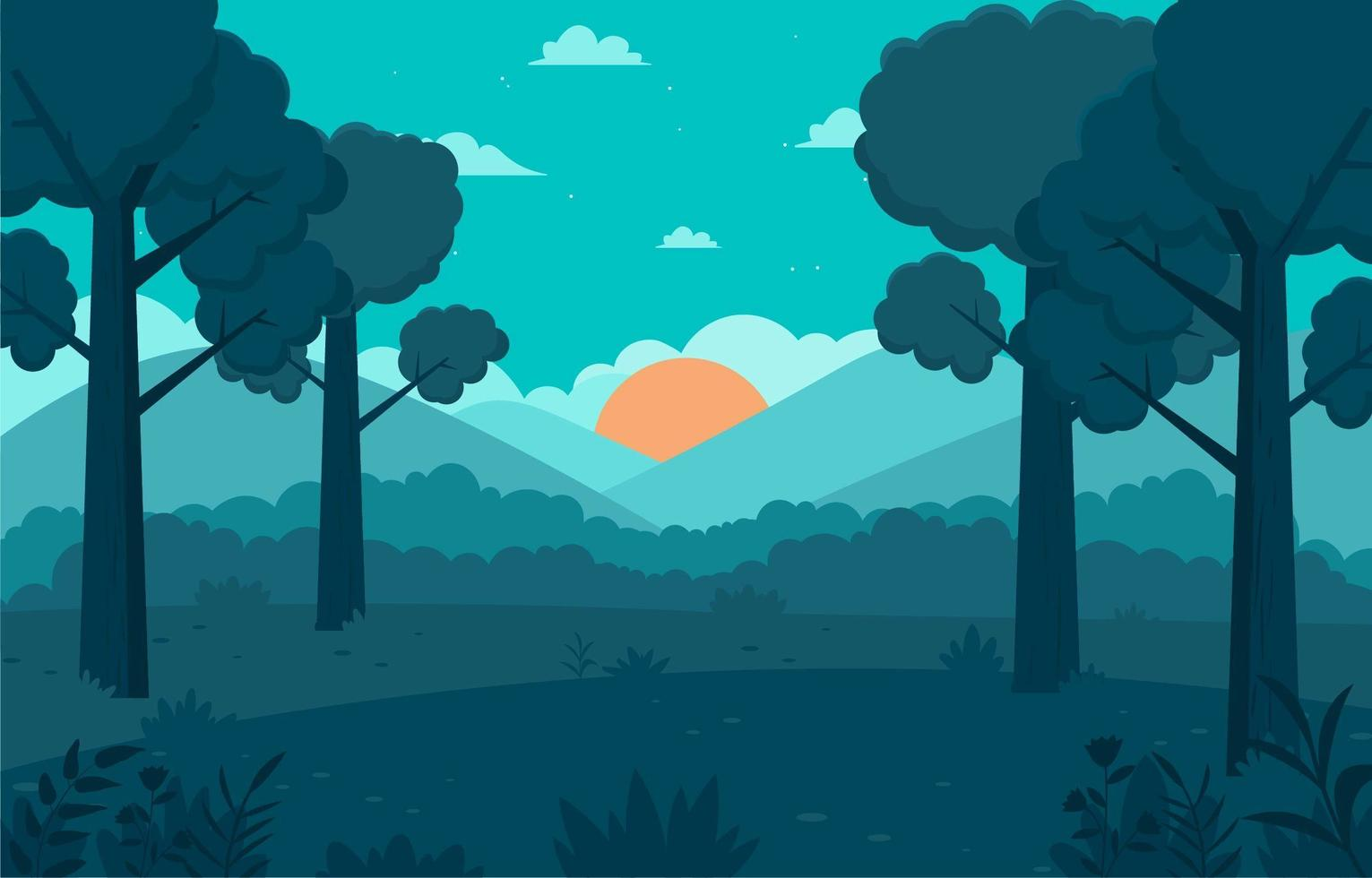 Tree Background In The Forest In The Morning vector
