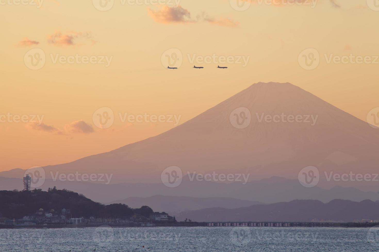 Mountain Fuji at sunset time from Sagami bay , Kamakura city photo