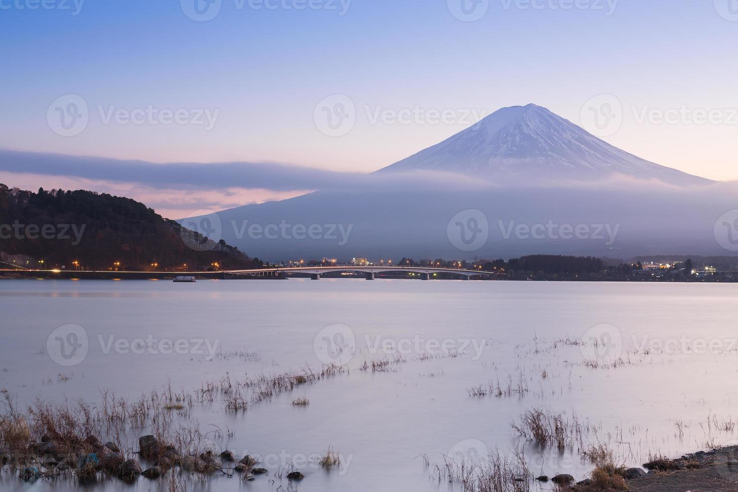 Kawaguchiko Lake with Fuji Mountain background photo