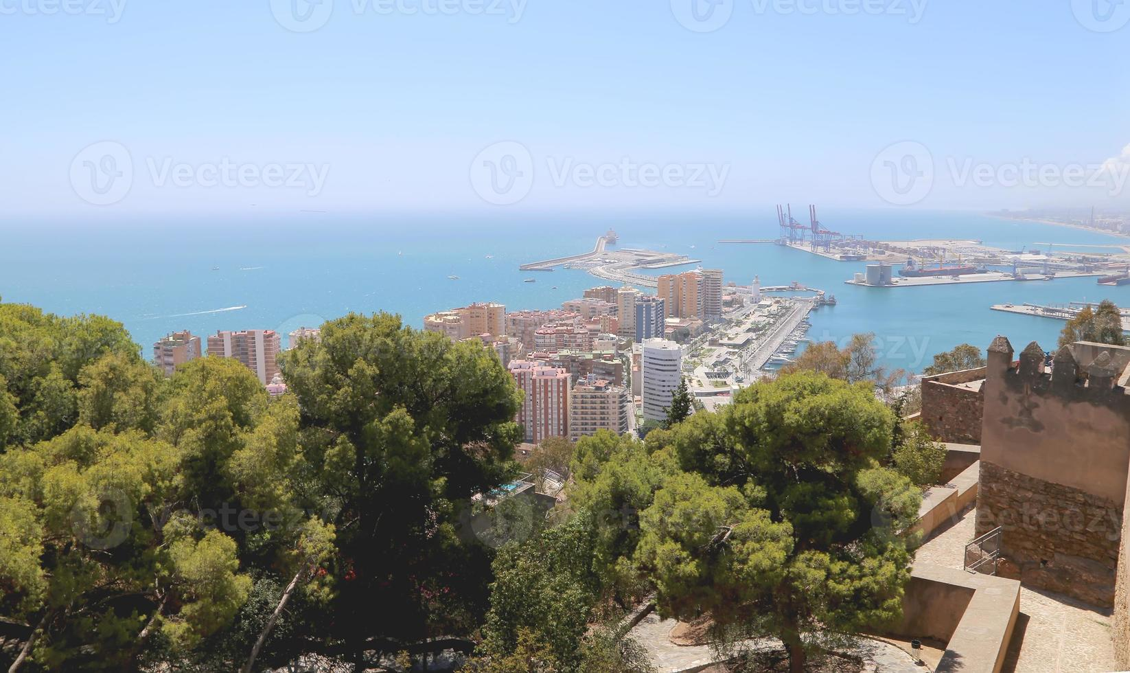 Malaga in Andalusia, Spain. Aerial view of the city photo