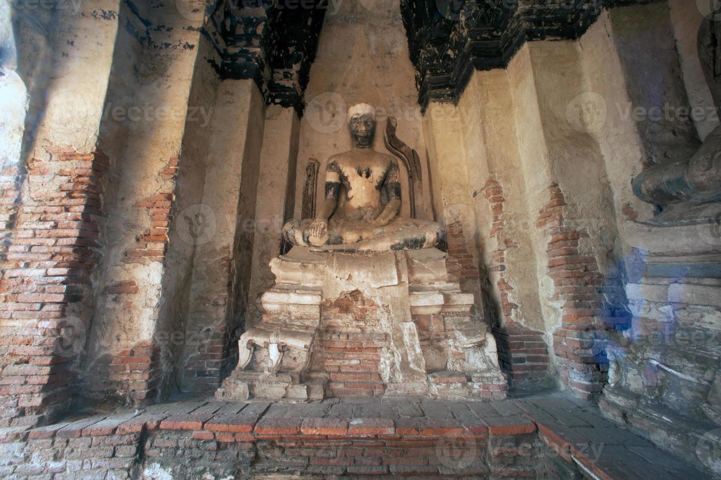 Ancient Buddha in Wat Chaiwatthanaram,Ayutthaya Historical Park of Thailand. photo