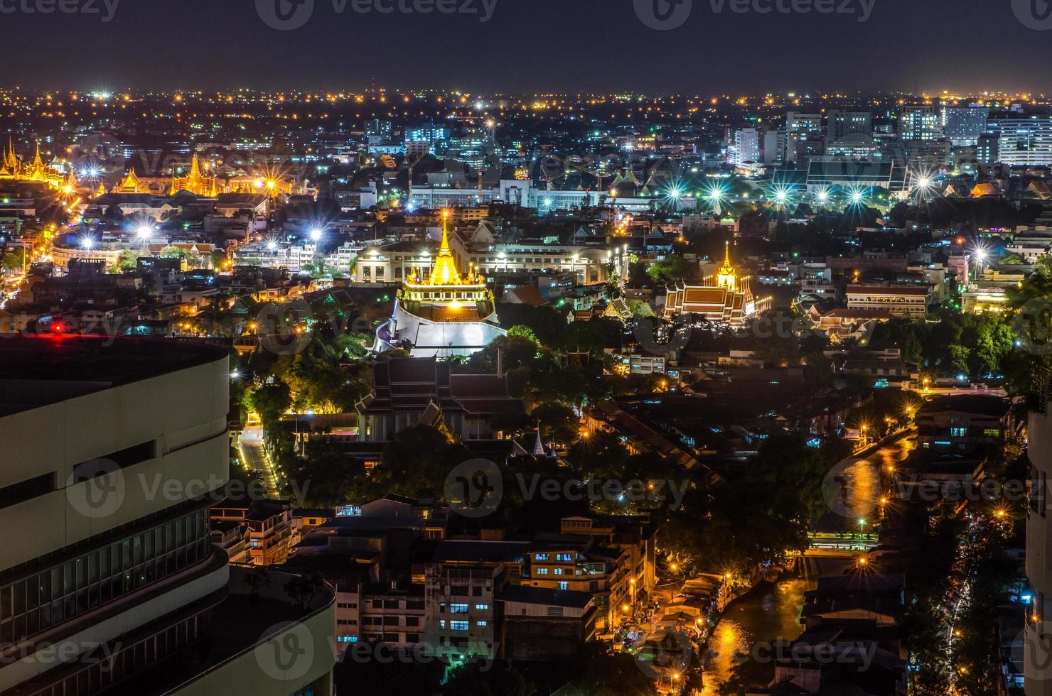 Golden Mount in night time Bangkok, Thailand photo