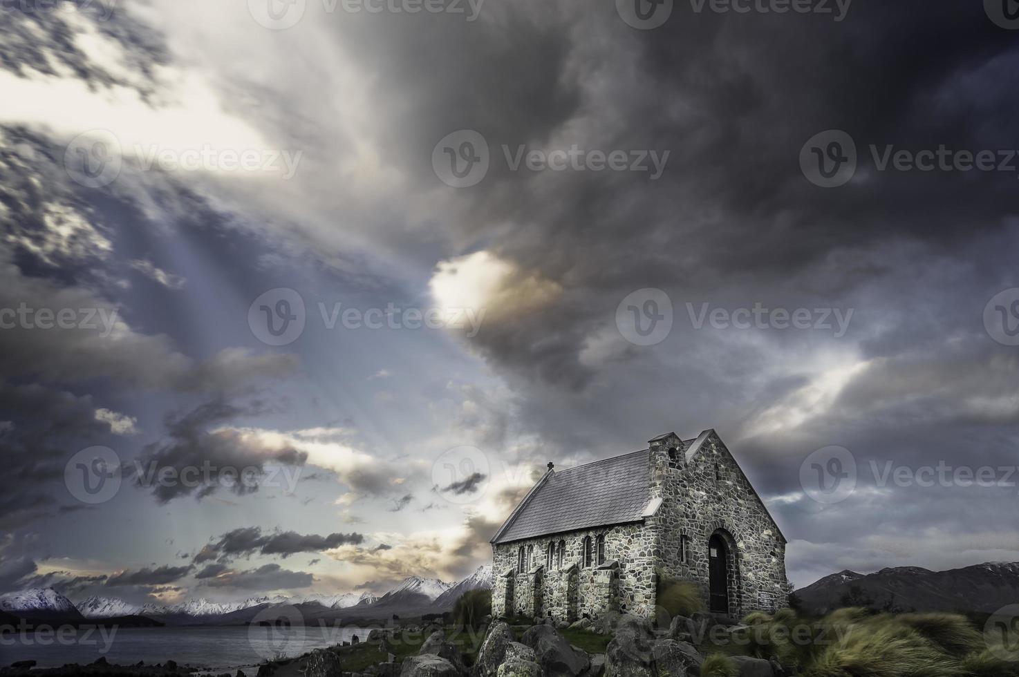 Panoramic of Church of the Good Shepard, Lake Tekapo photo