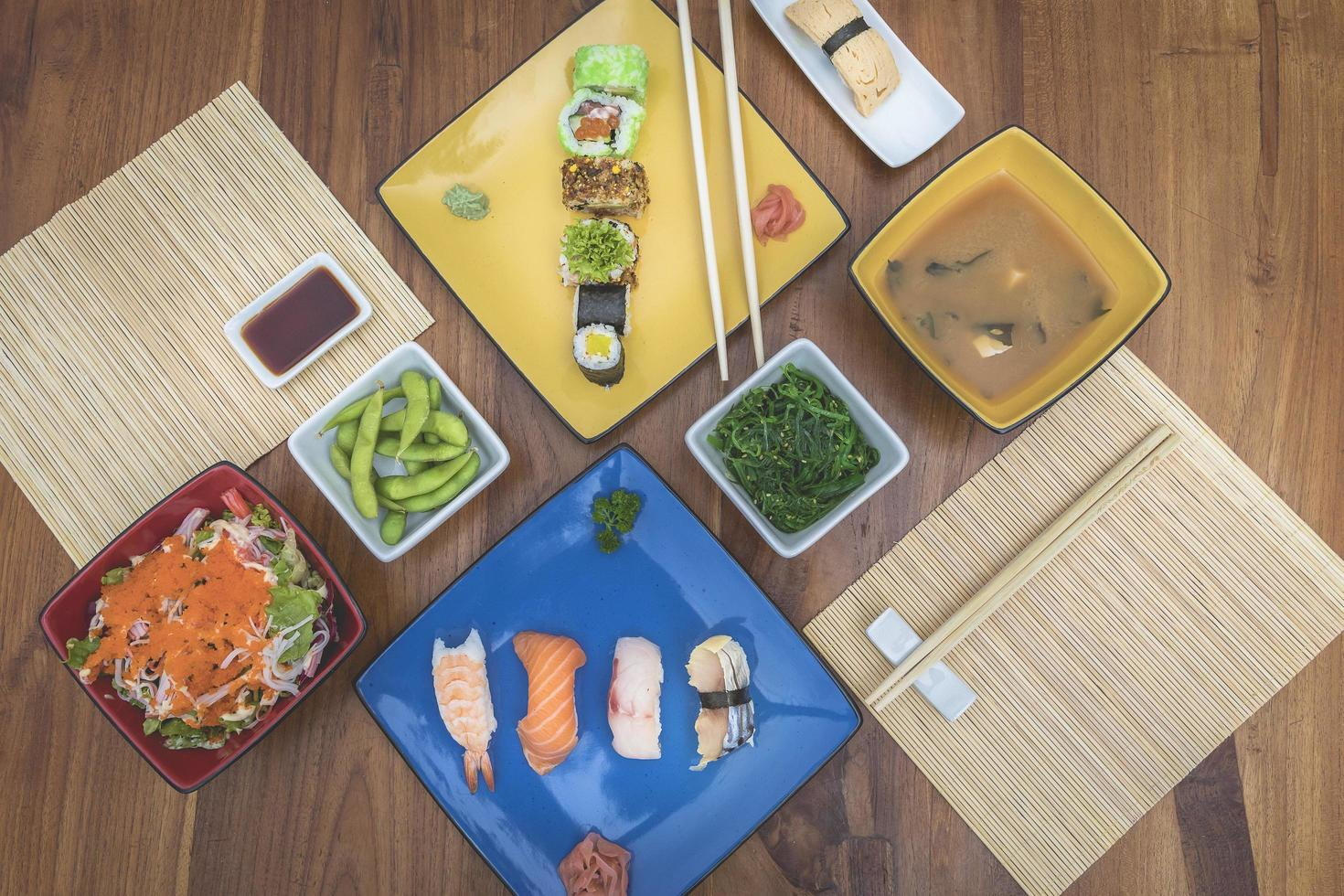 Flat lay view of Japanese food dishes photo