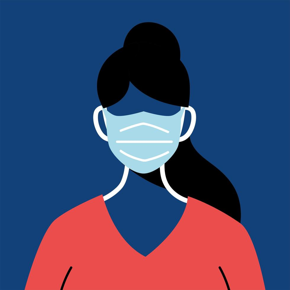 Female nurse with mask and uniform vector