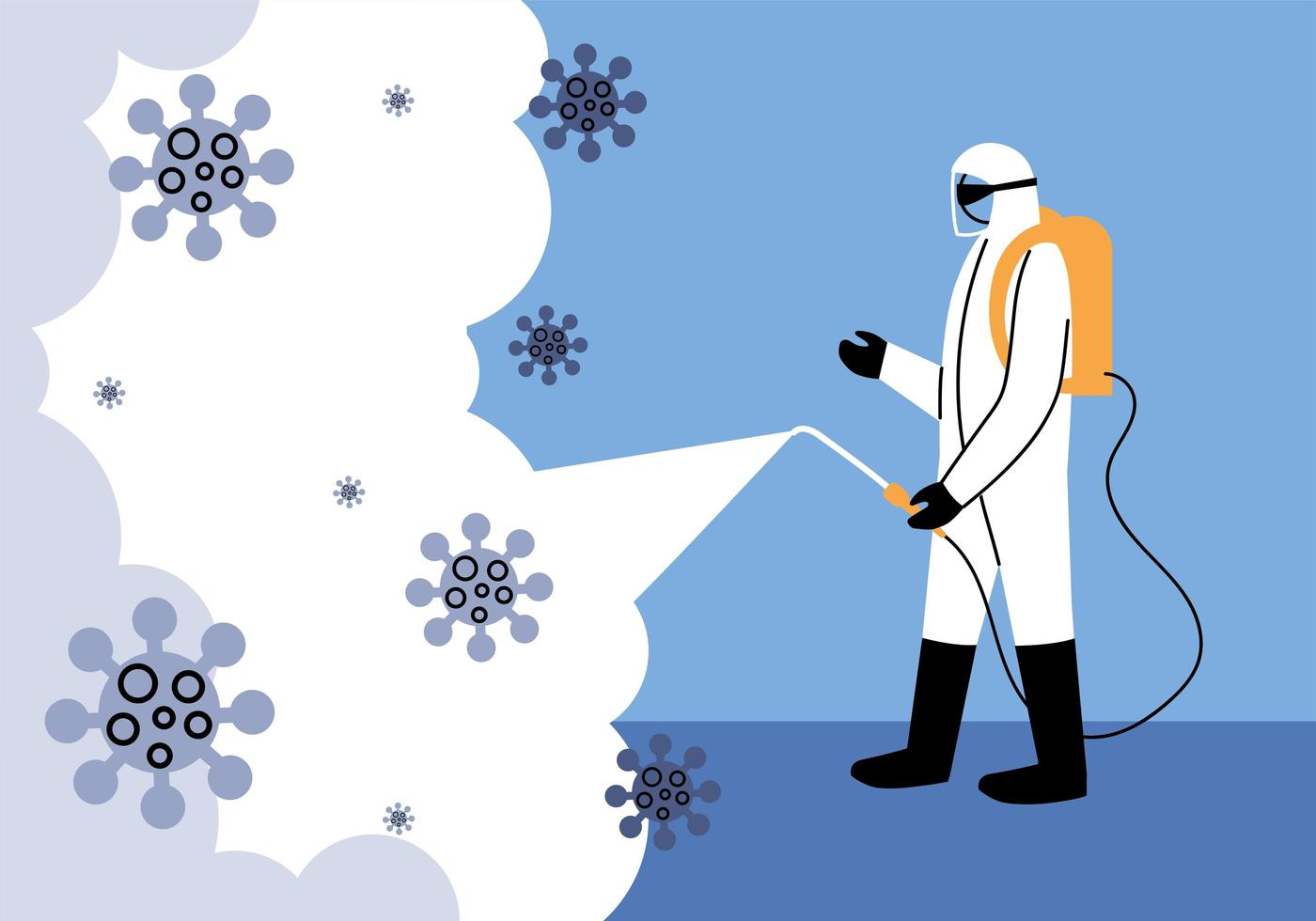 Man wears protective suit, disinfection by coronavirus vector