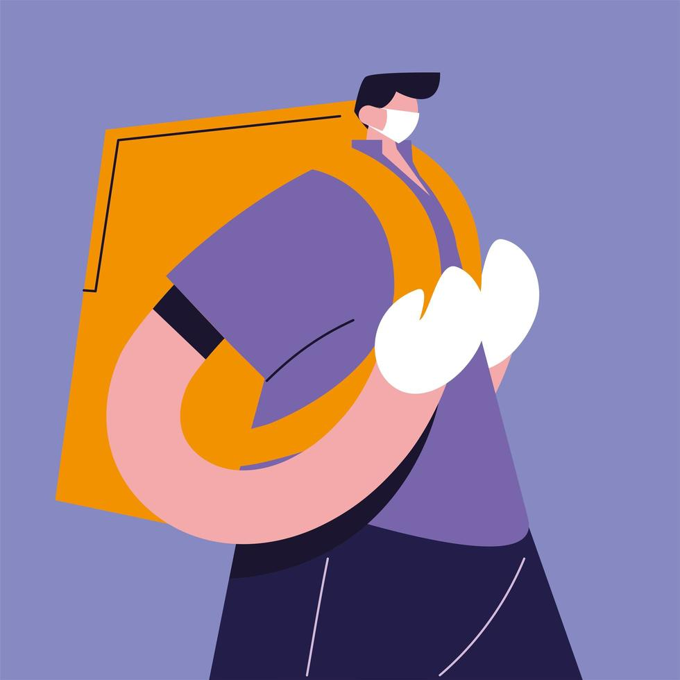 Delivery man with face mask vector