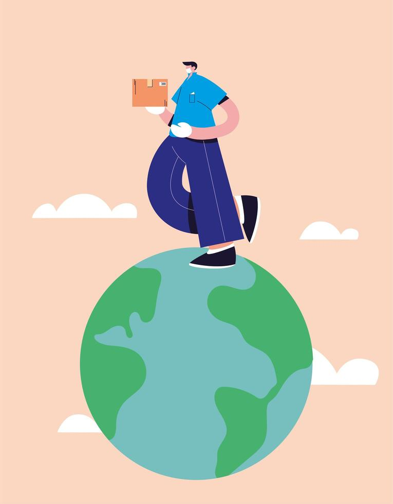 Delivery man deliveries goods around the world vector
