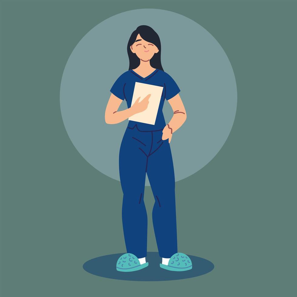 Female nurse in uniform, health worker vector