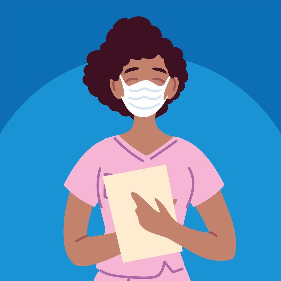 Female nurse using face mask and uniform vector