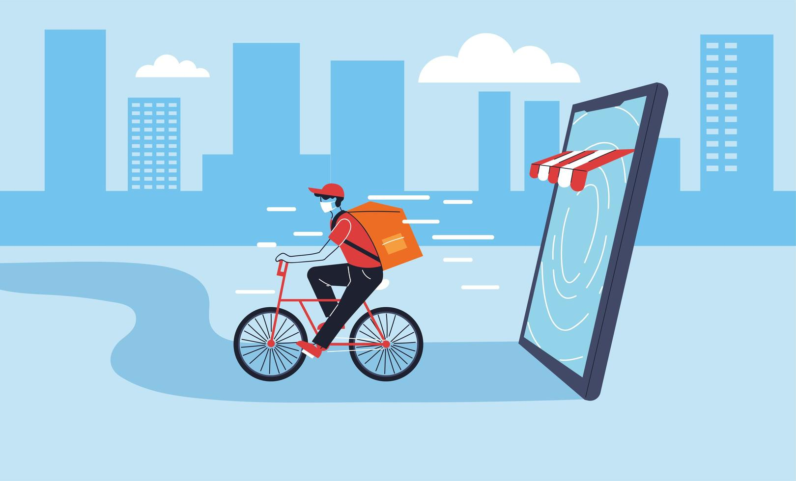 Delivery man with protective mask in bicycle vector