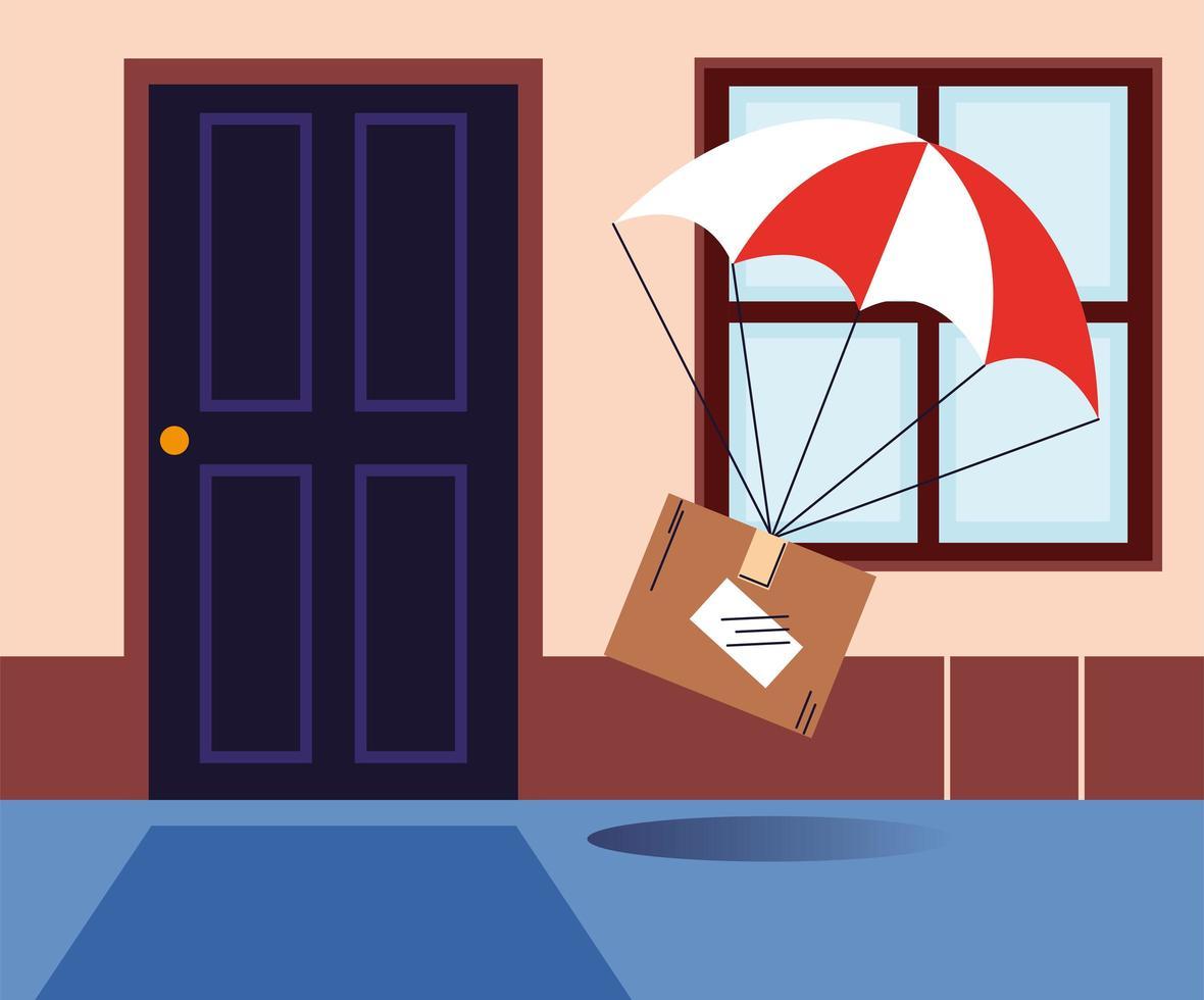 Caja con entrega de paracaídas en la puerta de la casa. vector