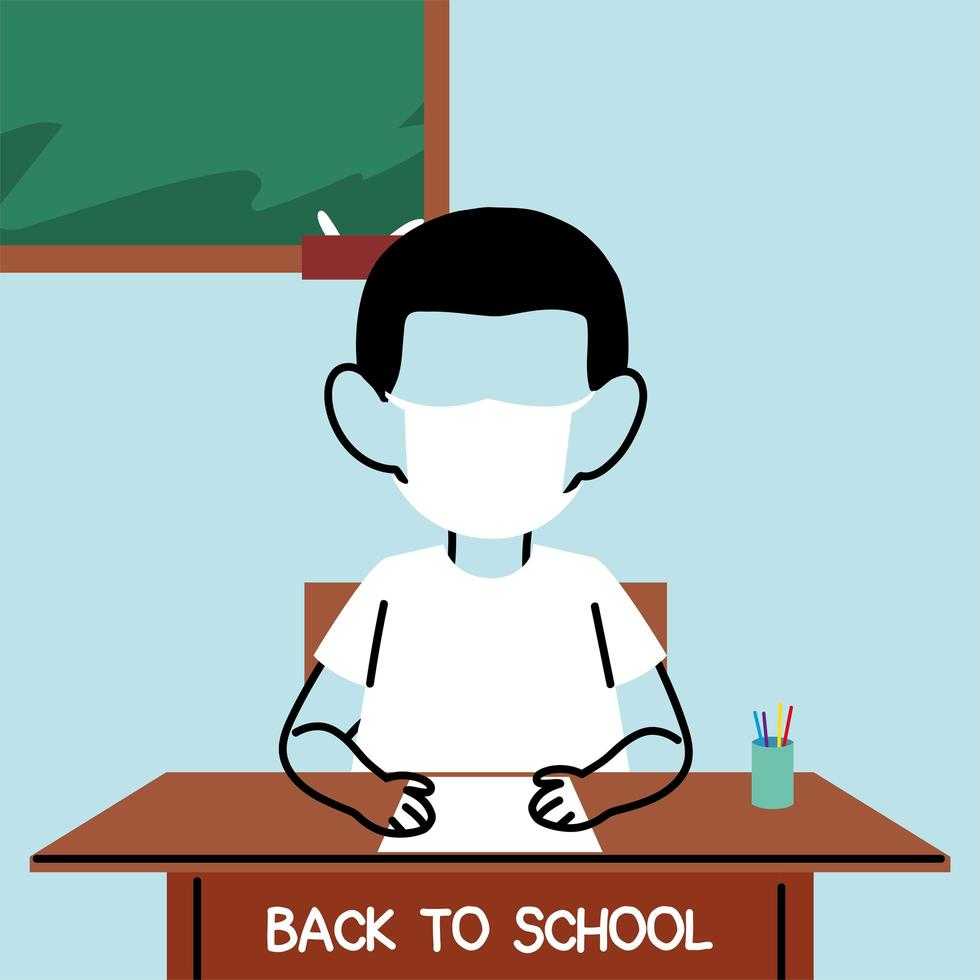 Boy studying in classroom with face mask vector