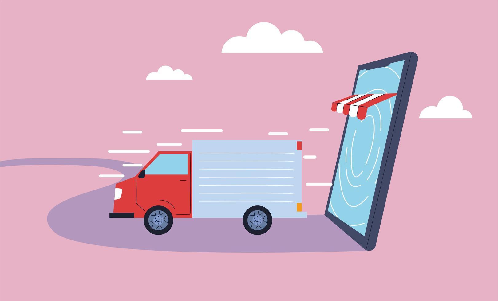 El camión de reparto lleva la entrega a las personas. vector