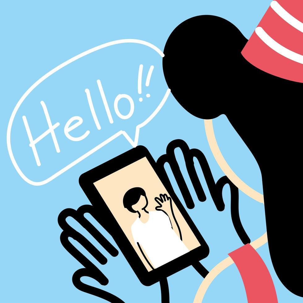 mujer con gorro de fiesta y chat de video de smartphone vector