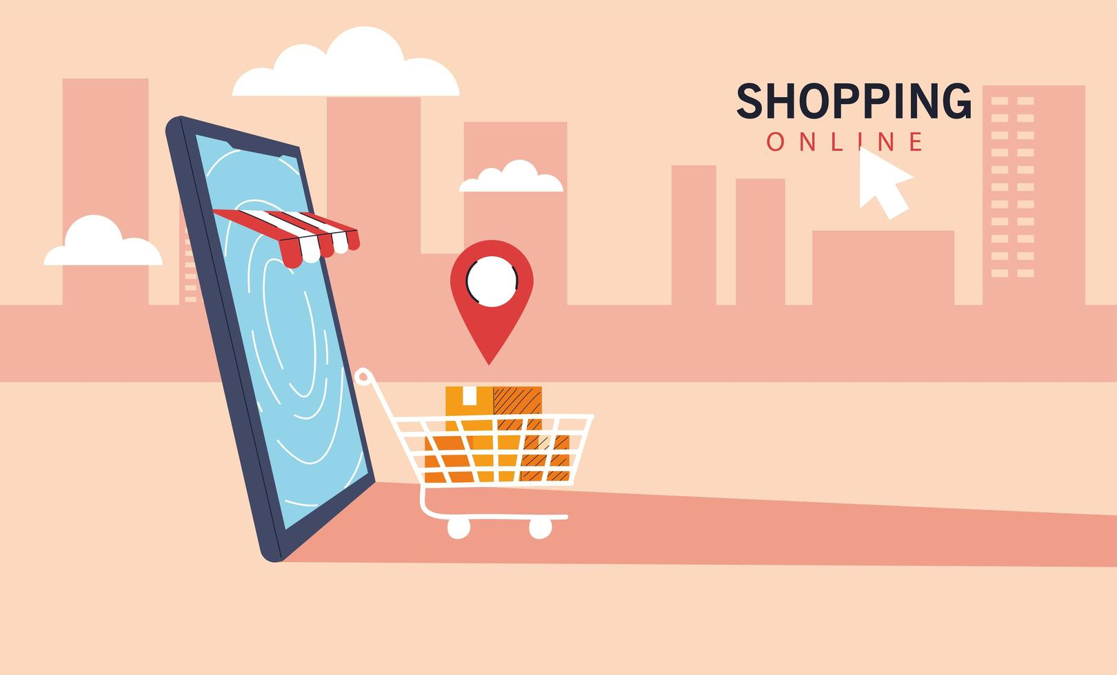 Smartphone represents of front of shop store vector