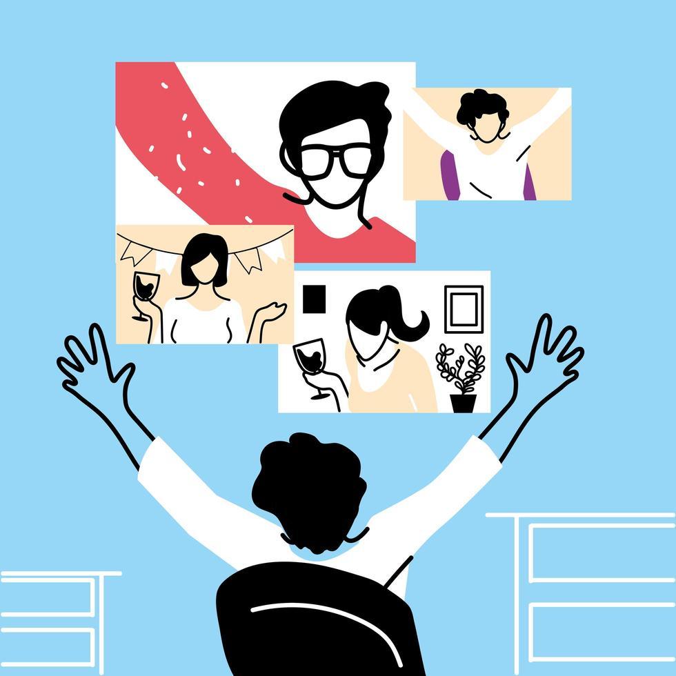 hombre y pantallas en el diseño de vectores de video chat