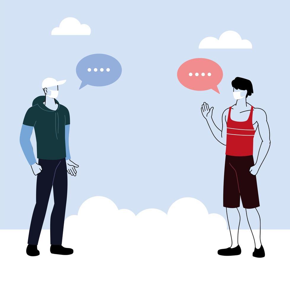 los hombres hablan con distancia para prevenir el coronavirus vector