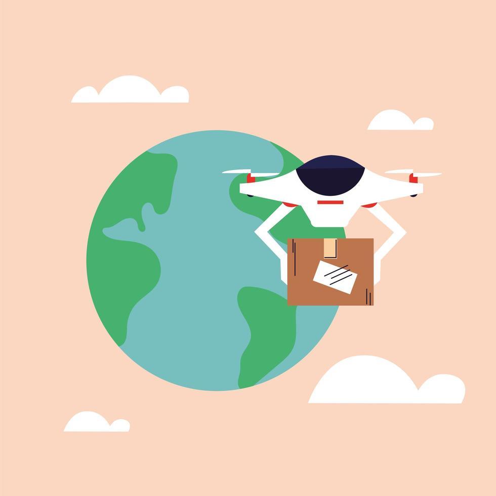 El dron lleva una caja de cartón, entregada por correo aéreo. vector