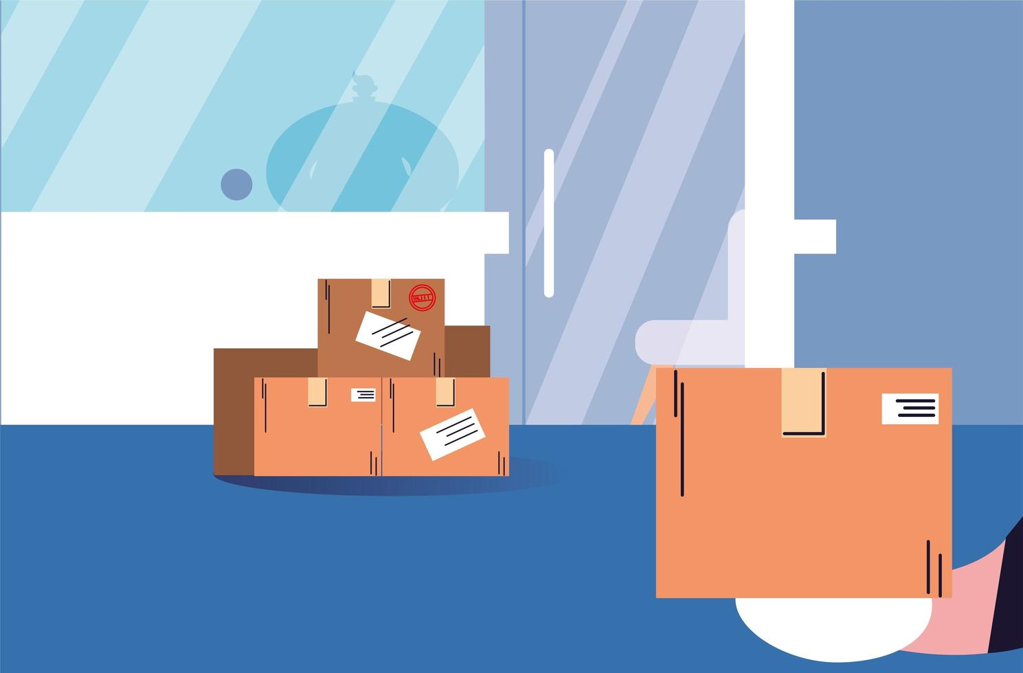 Boxes of purchases stand at the door vector