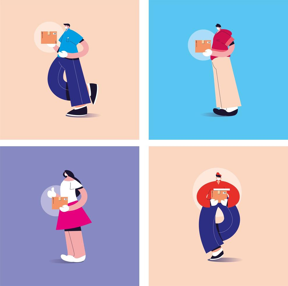 Repartidores con máscaras en diferentes poses. vector