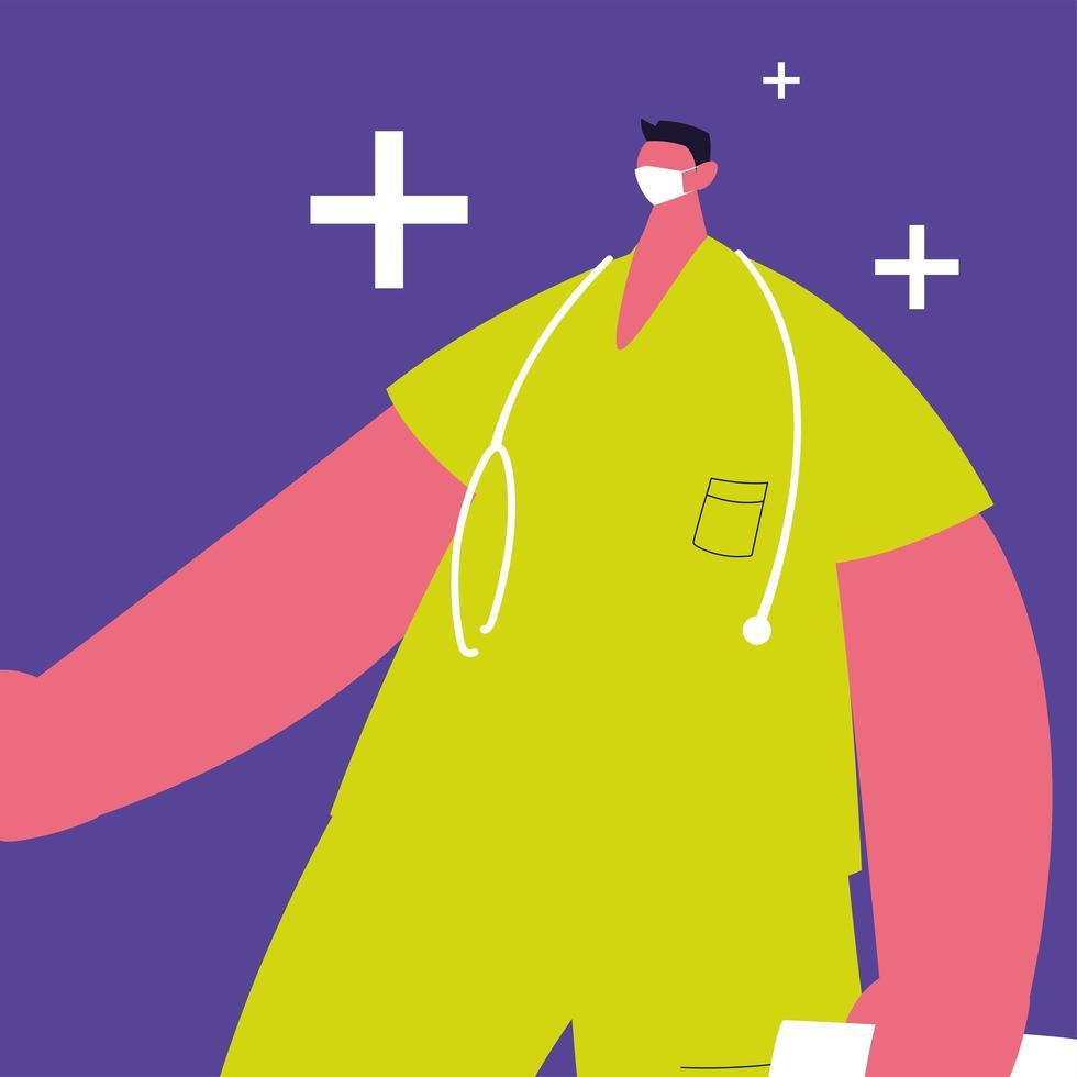 Man doctor standing, medical staff vector