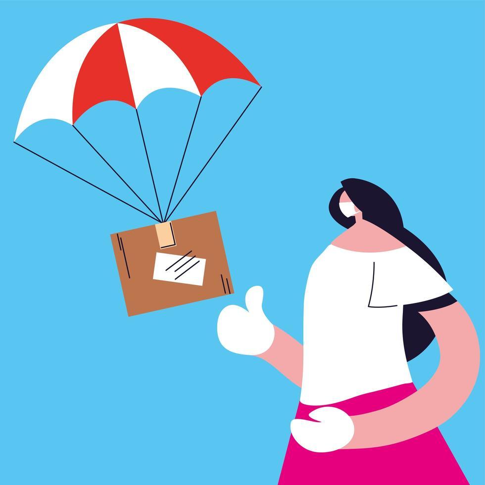 Mujer atrapando caja de paquetería cayendo con paracaídas vector