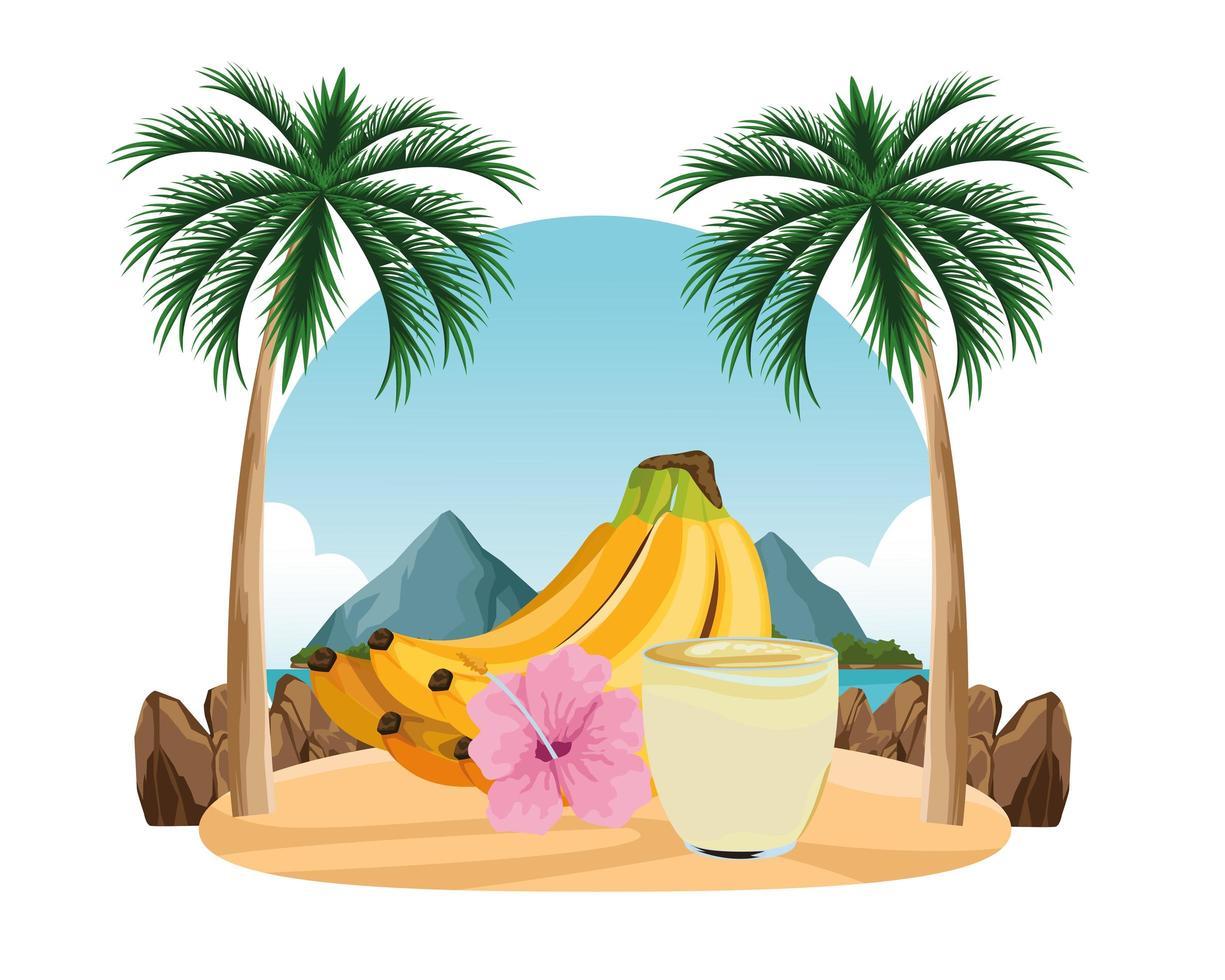 bebida de frutas tropicales y batidos vector