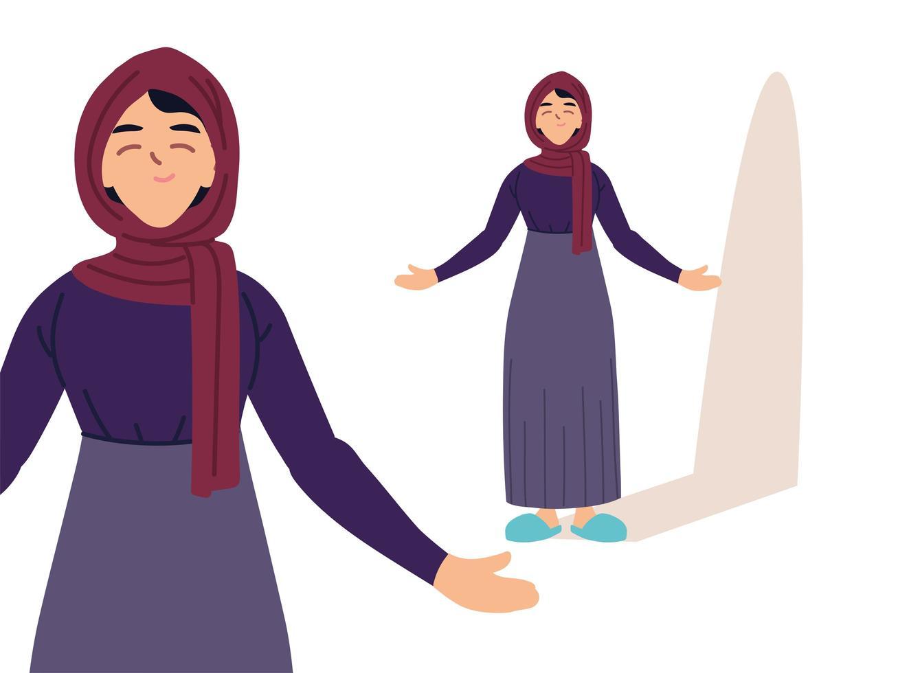 mujer musulmana en diferentes poses vector