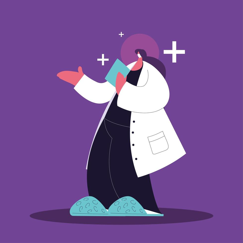 Female doctor standing, medical staff vector