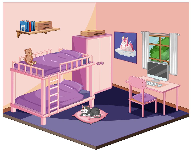 dormitorio en tema de color rosa vector