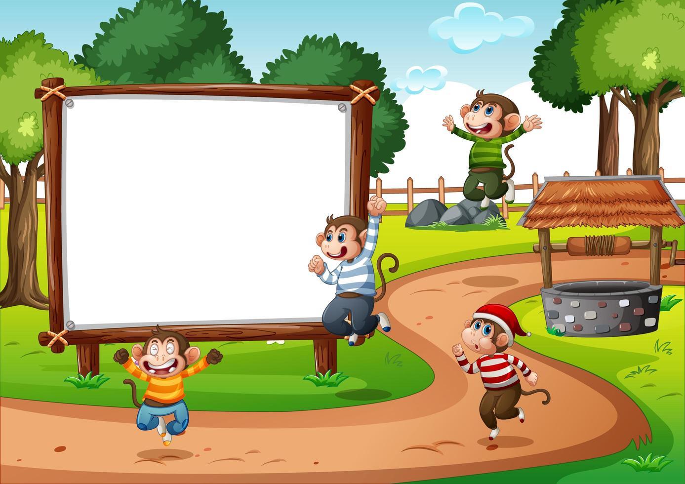 Banner de madera en blanco en la escena del parque vector
