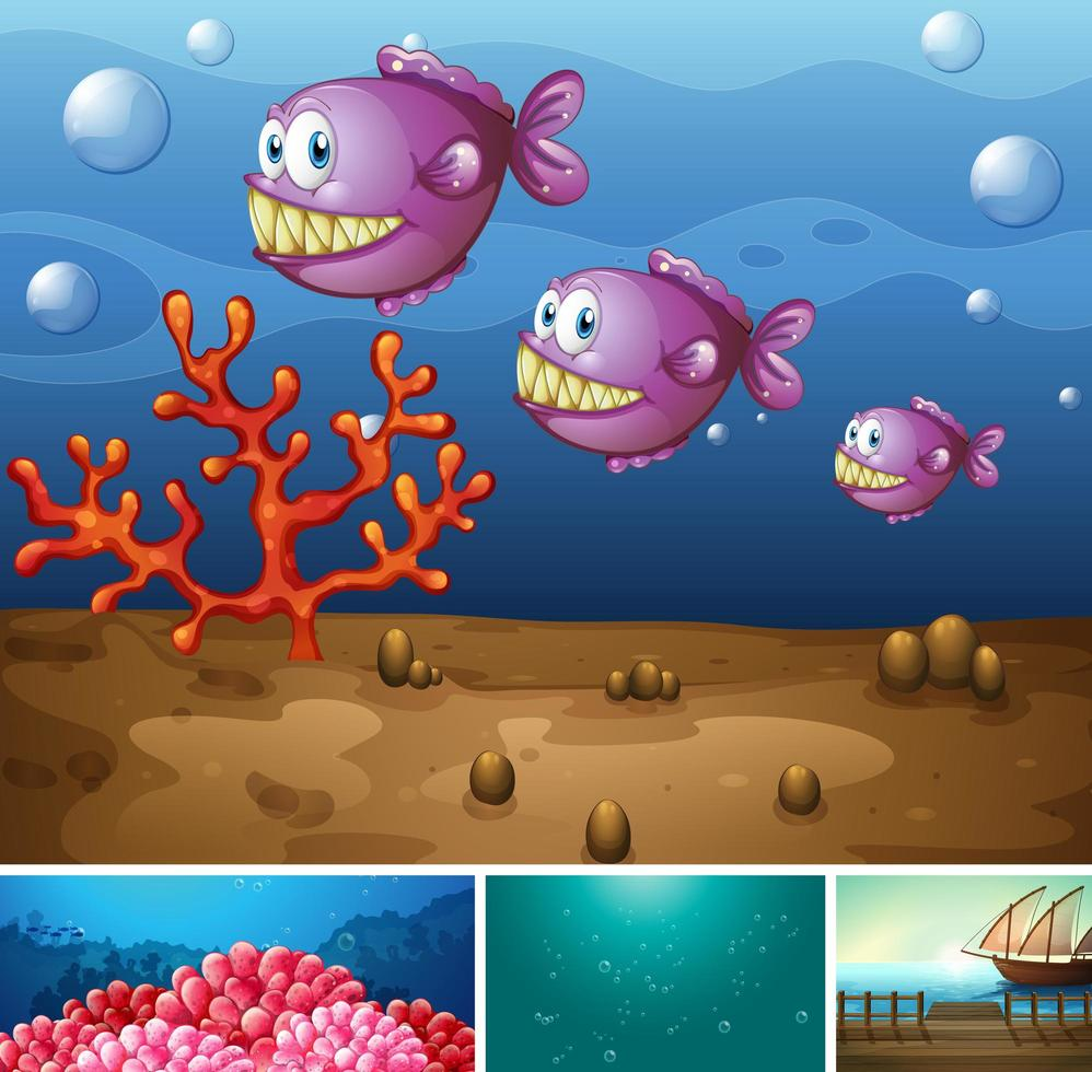 cuatro escenas diferentes de playa tropical. vector